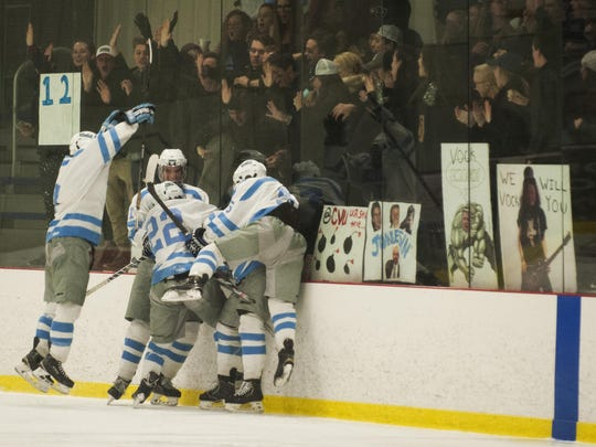 South Burlington celebrates a goal during the boys hockey game between the Champlain Valley Union Redhawks and the South Burlington Rebels at Cairn's Arena on Wednesday night February 3, 2016 in South Burlington.