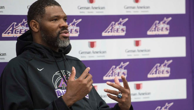 University of Evansville head coach Walter McCarty talks during an interview at Meeks Family Fieldhouse on Friday, March 23, 2018. McCarty, an Evansville native was announced as the new basketball coach Thursday.