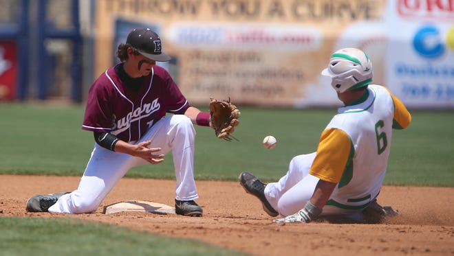 Taylorsville's Brody Bray slides safely into second base as Eupora's Lawson Stewart tries to make the tag in Game 1 of the MHSAA Class 2A Baseball Championships on Wednesday, May 21, 2014. Photo by Keith Warren