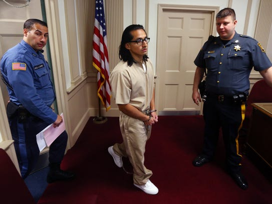 James Zarate, is led into Morris County Court Thursday