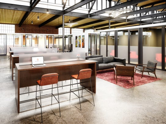 This rendering shows Serendipity Labs coworking space