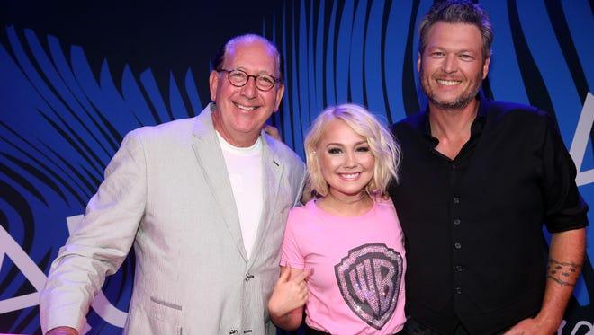 John Esposito, chairman and CEO of Warner Music Nashville, RaeLynn, Blake Shelton