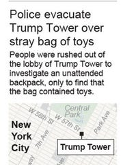 Map locates Trump Tower in New York City.