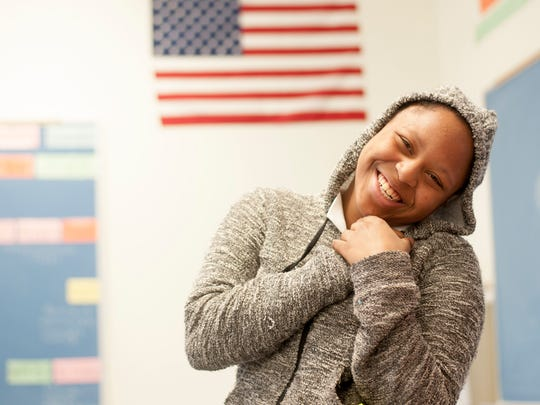 Brimm student Aarionnra Coppedge smiles during a special