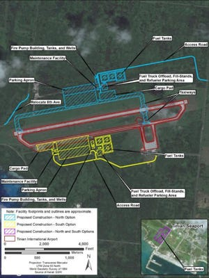 "The Air Force considered three options for expansion of Tinian's airport for the facility to host diverted flights. Its final decision is called the ""north option,"" drawn in blue on this map."