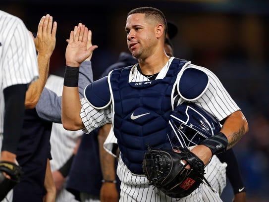 Aug 14, 2017; Bronx, NY, USA; New York Yankees catcher