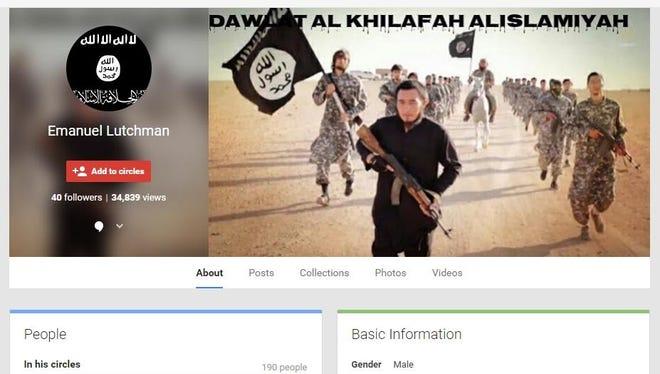 Screen capture of Google Plus page belonging to Rochester terror suspect Emanuel Lutchman.