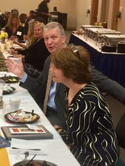 Former U.S. Rep. Gwen Graham and her husband, Steve Hurm, attend an event Tuesday in Quincy honoring women in law enforcement.