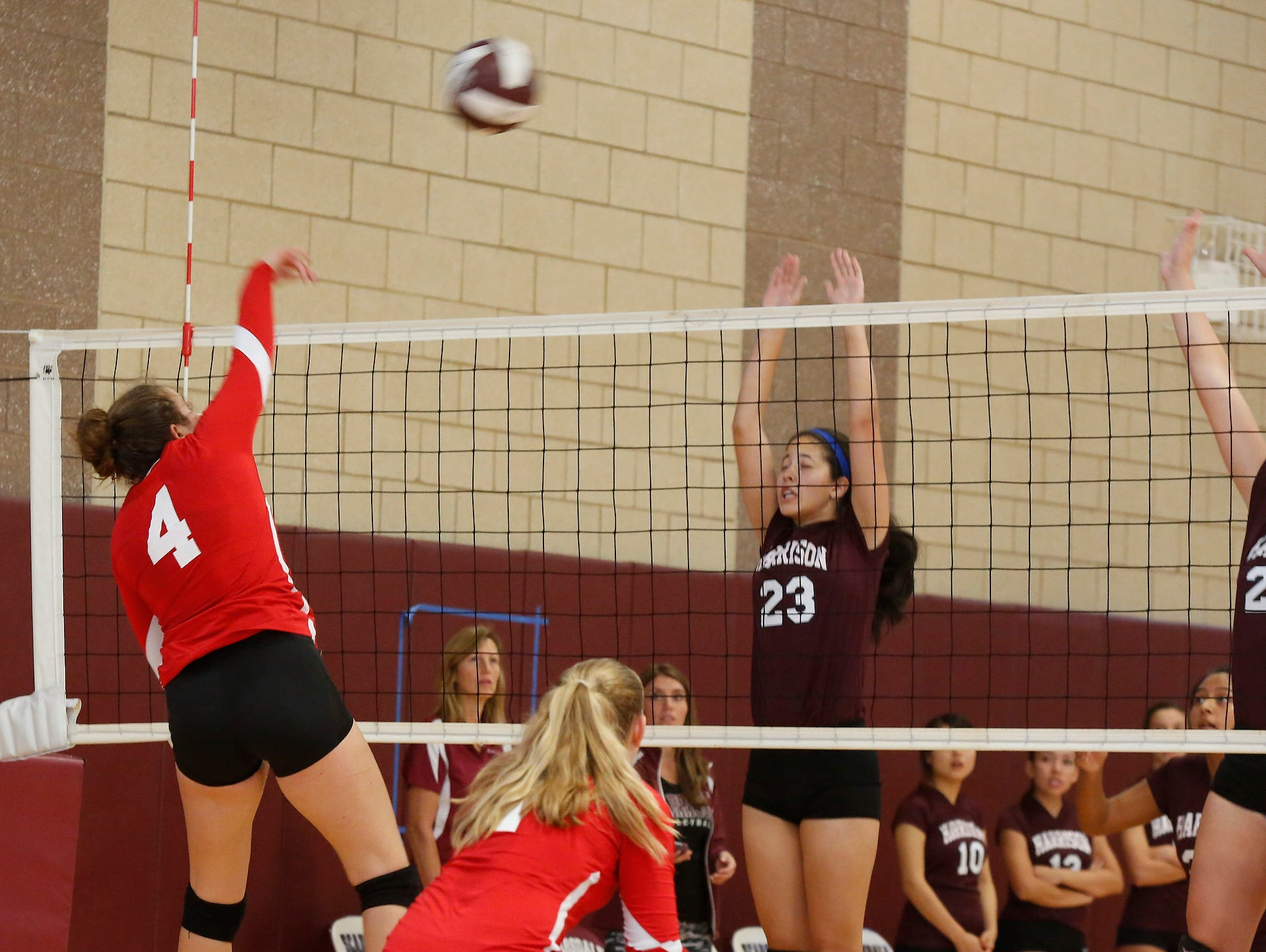 Tappan Zee takes on Harrison during the Scarsdale volleyball tournament at Scarsdale High School on Saturday, September 17, 2016.