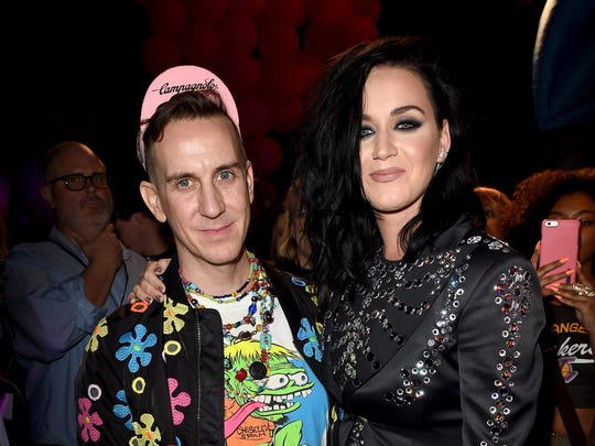 Designer Jeremy Scott (L) and singer Katy Perry attend the Moschino Spring/Summer 17 Menswear and Women's Resort Collection during MADE LA at L.A. Live Event Deck on June 10, 2016 in Los Angeles, California.