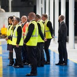 Governor Nikki Haley joins Trelleborg President of Agricultural and Forestry Tires Paolo Pompei, Chief Financial Officer Ulf Berghult, and Trelleborg President Maurizio Vischi in the ribbon cutting at Trelleborg Wheel Systems in Spartanburg on Wednesday, January 27, 2016.