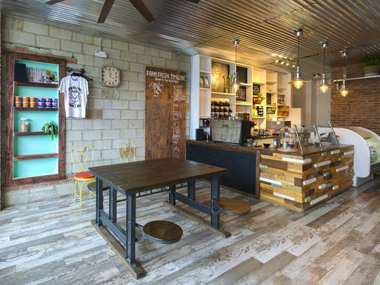 Ohmies Coffee Bar and Yoga Studio offers 100 percent single-origin coffee using fair-trade Devoción beans from Colombia.