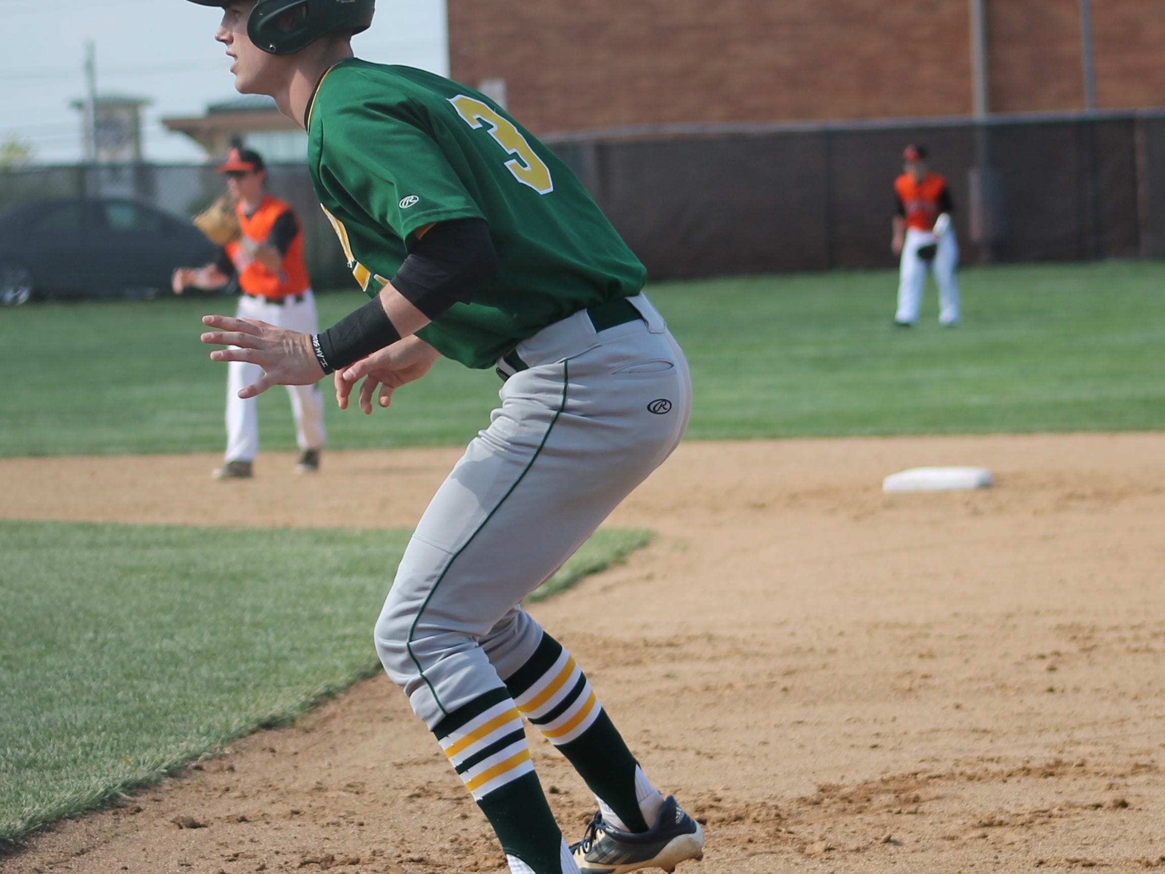 Sycamore senior Ryan Wahler gets a lead off against Anderson May 12. The Aves fell short in their Division I tournament game 4-2.