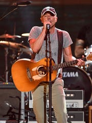 Kenny Chesney performs at the Merle Haggard Tribute concert at Bridgestone Arena Thursday, April 6, 2017 in Nashville, Tenn.