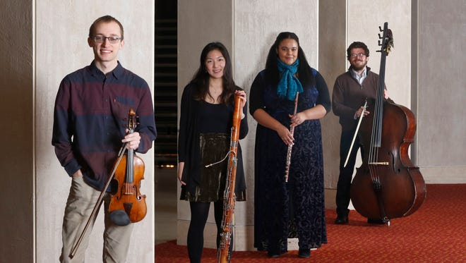 The Milwaukee Symphony now has ten musicians 30 and younger, including violinist Alex Ayers (left), principal bassoonist Catherine Chen, principal flutist Sonora Slocum and principal bassist Jon McCullough-Benner.
