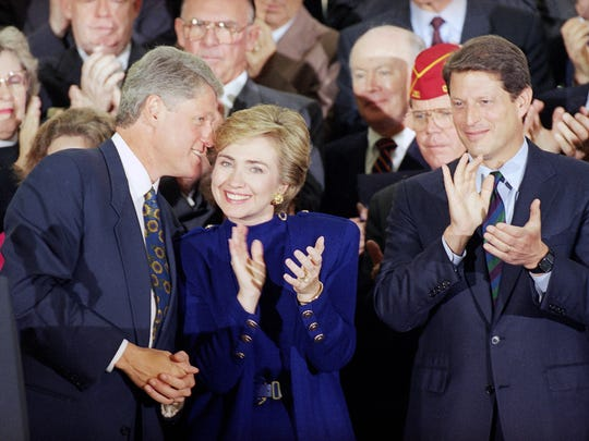 In this Sept. 23, 1993, file photo, Bill Clinton talks