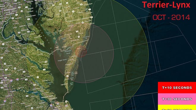 This map shows the visibility range of a Terrier-Lynx suborbital sounding rocket to be launched from NASA Wallops Flight Facility on Sunday, Oct. 12.