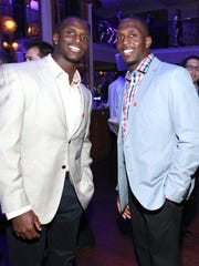 Titans cornerback Jason McCourty, left, and Patriots