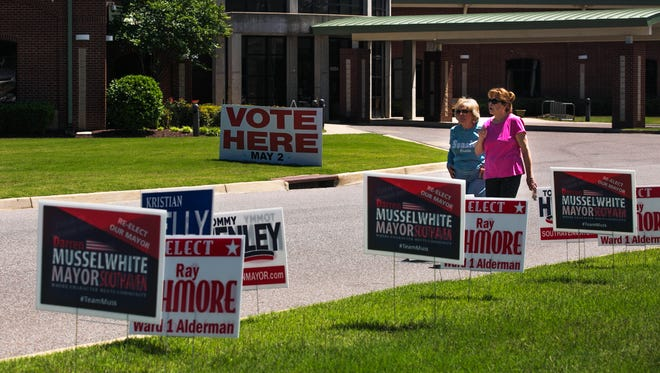 May 2, 2017 - Mary Alice McAlister, of Nesbit, Miss., and Sally Ray of Olive Branch, Miss., take a walk outside of M.R. Davis Public Library in Southaven, Miss. on Tuesday. DeSoto County had election day with an interesting mayoral race between Darren Musselwhite and Tommy Henley.