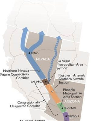 The proposed Interstate 11 corridor included in Thursday's highway funding bill would link Phoenix, Las Vegas and Reno.