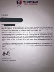 Anthony Rizzo of the Chicago Cubs sent a letter to
