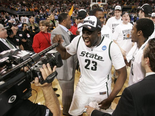 Michigan State's Draymond Green celebrates the Spartans' 70-69 victory over Tennessee to reach the 2010 Final Four.