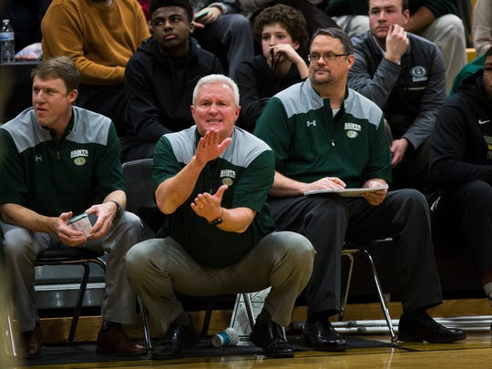 January 9, 2018 - Briarcrest's head coach for boys basketball John Harrington talks to his team as they compete against Whitehaven at Whitehaven High School on Tuesday night. Briarcrest defeated Whitehaven 60-56.