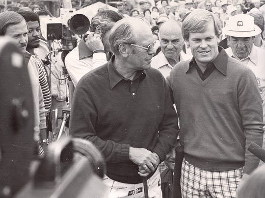 President Gerald Ford, wearing special Bob Hope Classic pants, shares an interview with Johnny Miller. Miller was a two-time champion of the event in 1975 and 1976.