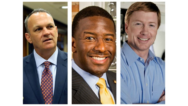 From left, House Speaker Richard Corcoran, Mayor Andrew Gillum and Florida Agriculture Commissioner Adam Putnam.