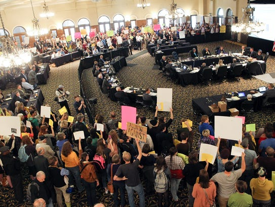 Protesters fill the Iowa Memorial Union during the