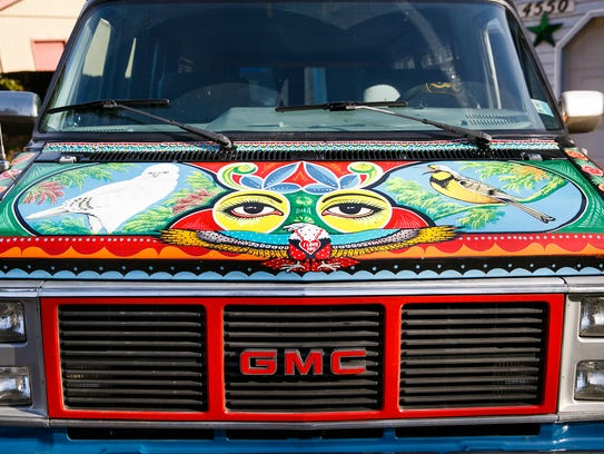 The hood of Fahd Saeed's van, painted by Pakistani