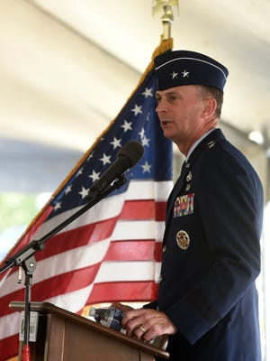 Maj. Gen. Warren Berry, vice commander, U.S. Air Force Materiel Command, gives the keynote address during a celebration held at the Port Authority for the 20th anniversary of Central Ohio Aerospace and Technology Center, following closure of Newark Air Force Base.