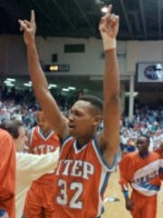 "UTEP's Johnny ""Smooth"" Melvin raises his hands in air"