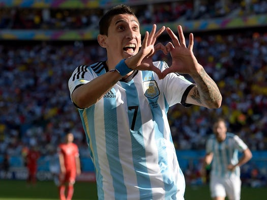 Argentina vs. Switzerland: Angel di Maria celebrates after scoring the winning goal in extra time.