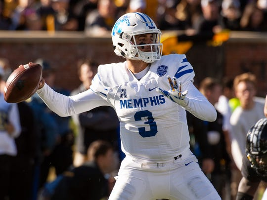 Memphis quarterback Brady White throws a pass during the first half of an NCAA college football game against Missouri Saturday, Oct. 20, 2018, in Columbia, Mo. (AP Photo/L.G. Patterson)