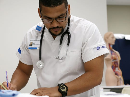 David Walker, who served in the Air Force, is studying at Rochester Regional Health to be a nurse. He wants to be a flight nurse. Part of the motivation is Walker's brother, Daniel Rivera, who died in Iraq in 2009.