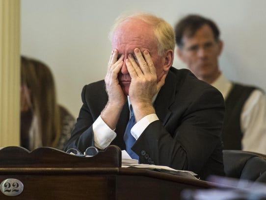 Sen. Kevin Mullin, R-Rutland, listens as the Senate