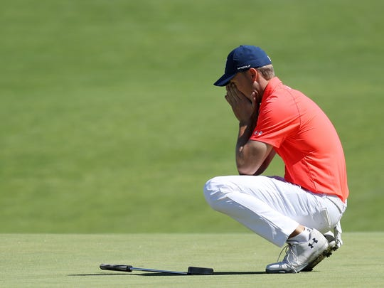 Jordan Spieth of the United States reacts to a misesd put on the 16th green during the first round of the 2018 U.S. Open at Shinnecock Hills Golf Club on June 14.