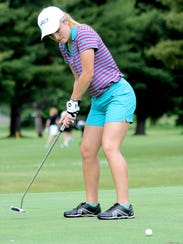 Corning's Emily Cunningham putts during a practice