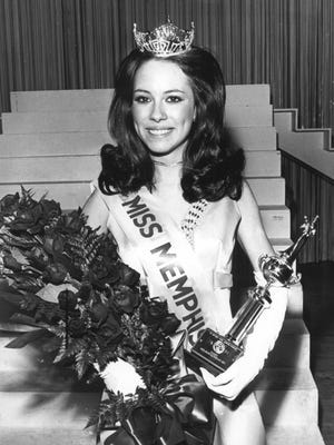 Betty Ann Hunt, a 5-foot, 4-inch junior at Memphis State University, was crowned Miss Memphis 1971 on March 13, 1971. The brown-eyed brunette daughter of Mr. and Mrs. Thomas Hunt of 5169 Gwynne also tied for talent honors by singing a medley of songs about rain. She will compete for the title of Miss Tennessee in July. Jacqueline Pickard (not shown), 19, daughter of Mr. and Mrs. Jack W. Pickard of 920 Cullenwood, who also won swimsuit and formal wear competition, was first runner up.