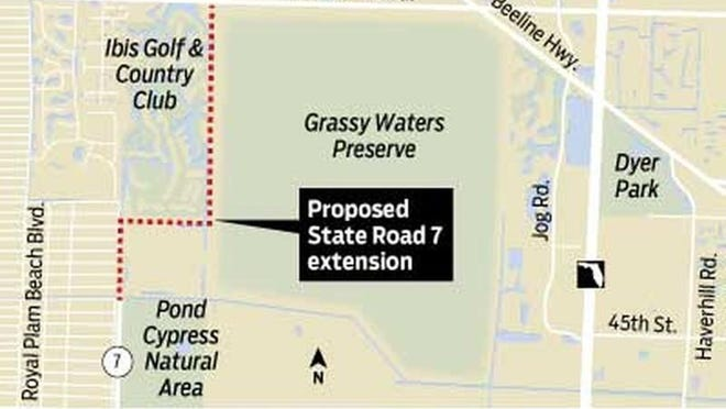 West Palm Beach officials say  the State Road 7 extension would put contaminated runoff in the Grassy Waters Preserve. The county and state disagree and are pushing for the roadway as a traffic reliever.