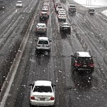Snow falls on Route 38 in Cherry Hill during a 2015 later winter storm.