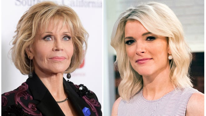 Jane Fonda in Beverly Hills, Calif., on Dec. 3, 2017, left, and Megyn Kelly on set of her show, 'Megyn Kelly Today' in New York on  Sept, 21, 2017.