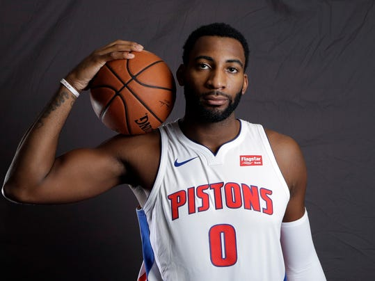Detroit Pistons center Andre Drummond poses during the NBA basketball team's media day, Monday, Sept. 25,2017, in Auburn Hills, Mich. (AP Photo/Carlos Osorio)