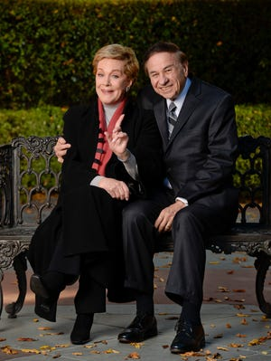 Julie Andrews and Richard Sherman pose at Disney Studios in Burbank, CA.
