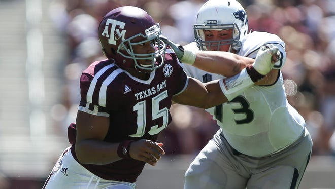 Texas A&M defensive lineman Myles Garrett will provide Mississippi State's offensive line with its toughest test this season.