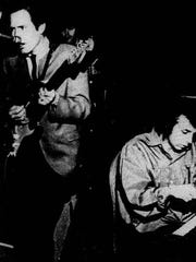 Phil Spector, right, joins The Bobby Fuller Four on piano in this undated photo.