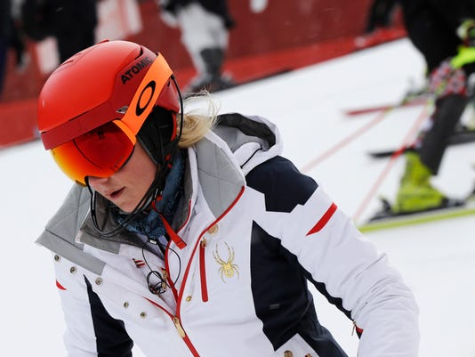 United States' MikaelaShiffrin takes part in an inspection of the course ahead of the women's slalom at Yongpyong alpine center at the 2018 Winter Olympics in Pyeongchang, South Korea, Wednesday, Feb. 14, 2018. (AP Photo/Luca Bruno)