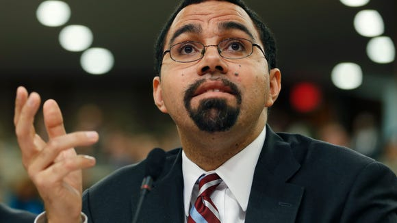 State Education Commissioner John King Jr., who has been the state's point man — and sometimes lightning rod — on Common Core issues, testifies during a joint legislative budget hearing on education.