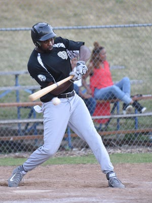 Lucias Harris of the Silverbacks bats against the Senators on Thursday, July 2, in a Willamette Valley Men's Baseball League game in Keizer.